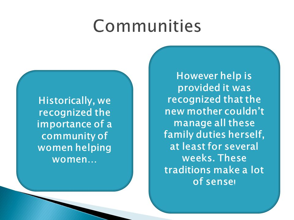Historically, we recognized the importance of a community of women helping women… However help is provided it was recognized that the new mother couldn't manage all these family duties herself, at least for several weeks.
