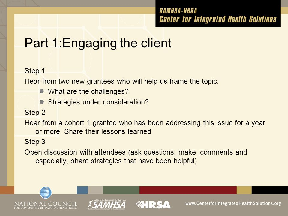Part 1:Engaging the client Step 1 Hear from two new grantees who will help us frame the topic: What are the challenges.