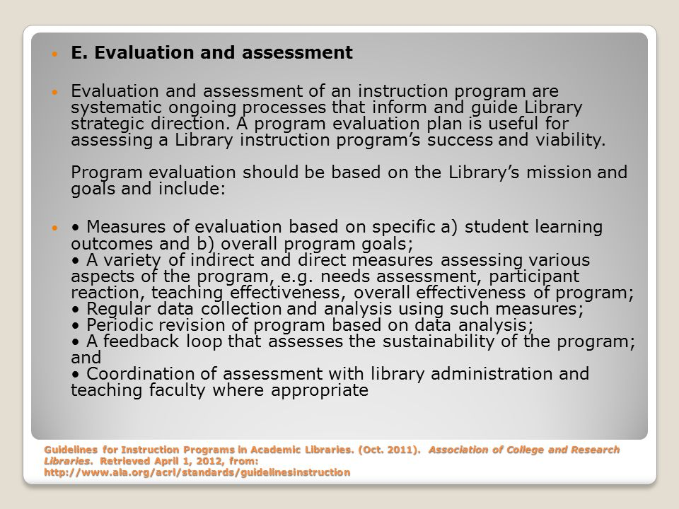 Guidelines for Instruction Programs in Academic Libraries.
