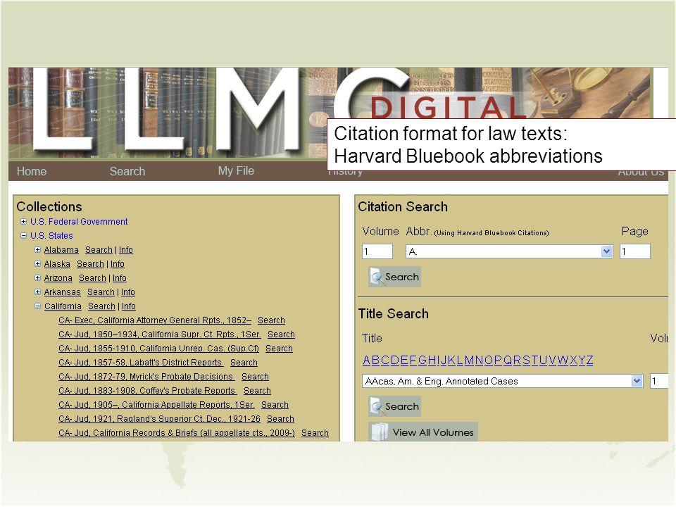 Citation format for law texts: Harvard Bluebook abbreviations