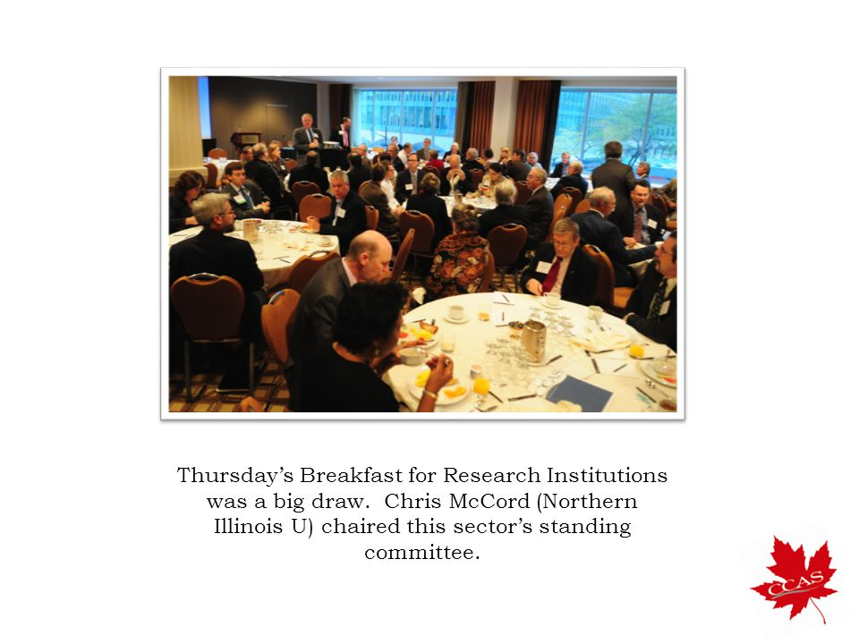 Thursday's Breakfast for Research Institutions was a big draw.