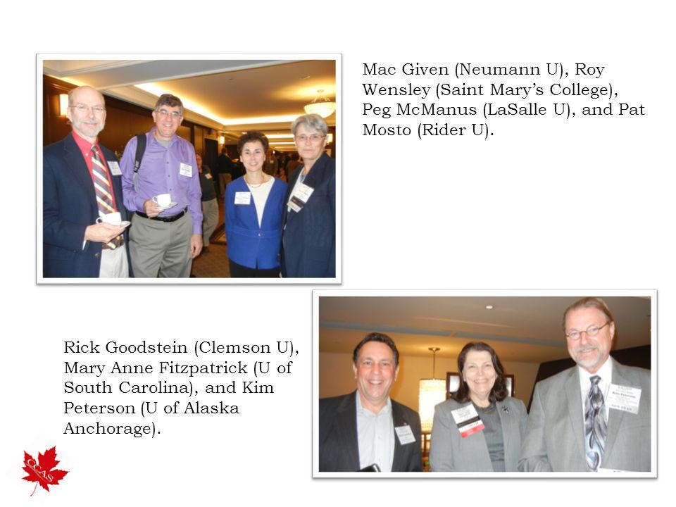 Mac Given (Neumann U), Roy Wensley (Saint Mary's College), Peg McManus (LaSalle U), and Pat Mosto (Rider U).