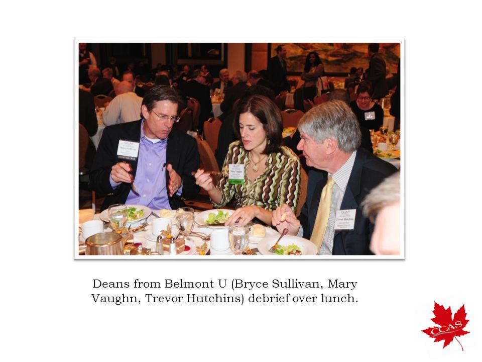 Deans from Belmont U (Bryce Sullivan, Mary Vaughn, Trevor Hutchins) debrief over lunch.