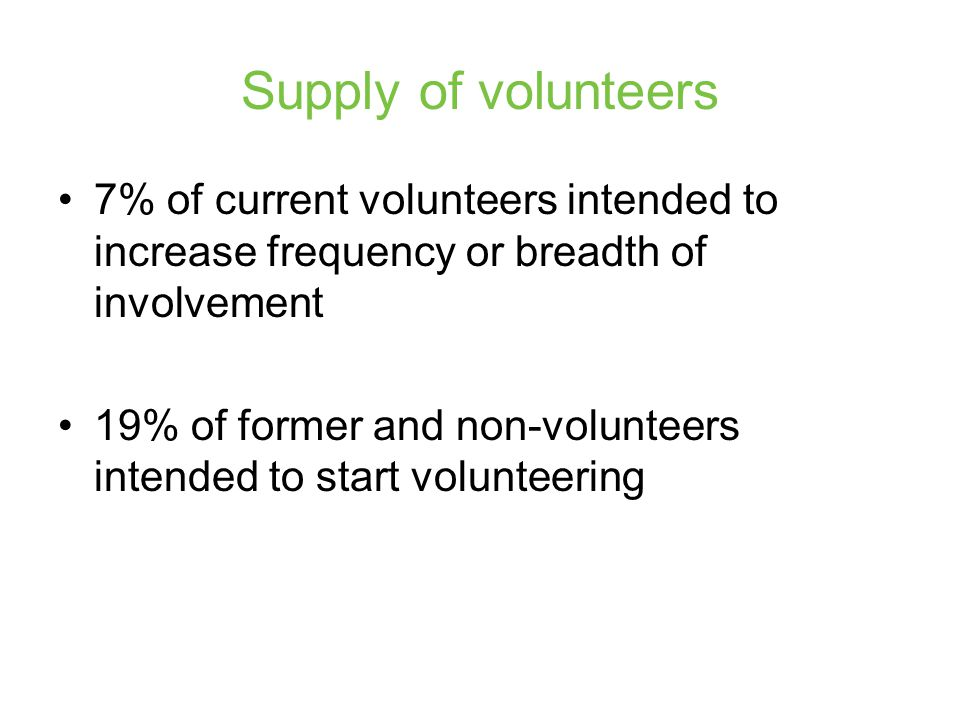 Supply of volunteers 7% of current volunteers intended to increase frequency or breadth of involvement 19% of former and non-volunteers intended to start volunteering
