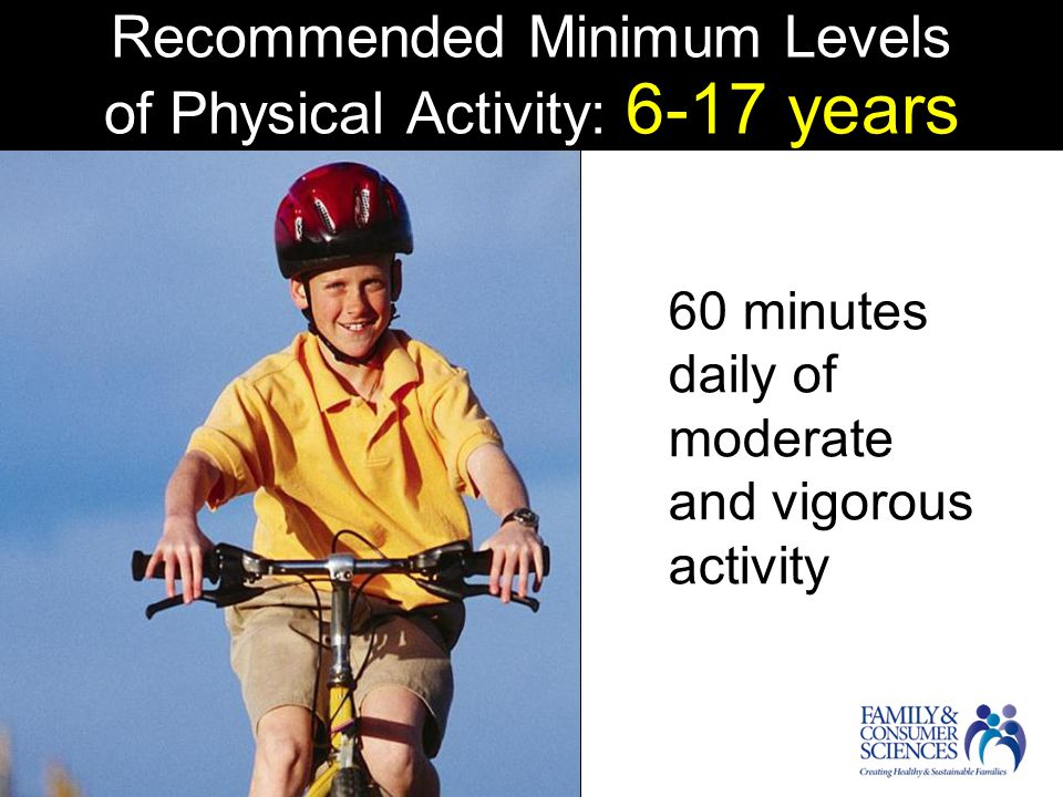 Recommended Minimum Levels of Physical Activity: 6-17 years 60 minutes daily of moderate and vigorous activity