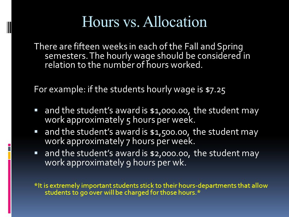Hours vs. Allocation There are fifteen weeks in each of the Fall and Spring semesters.