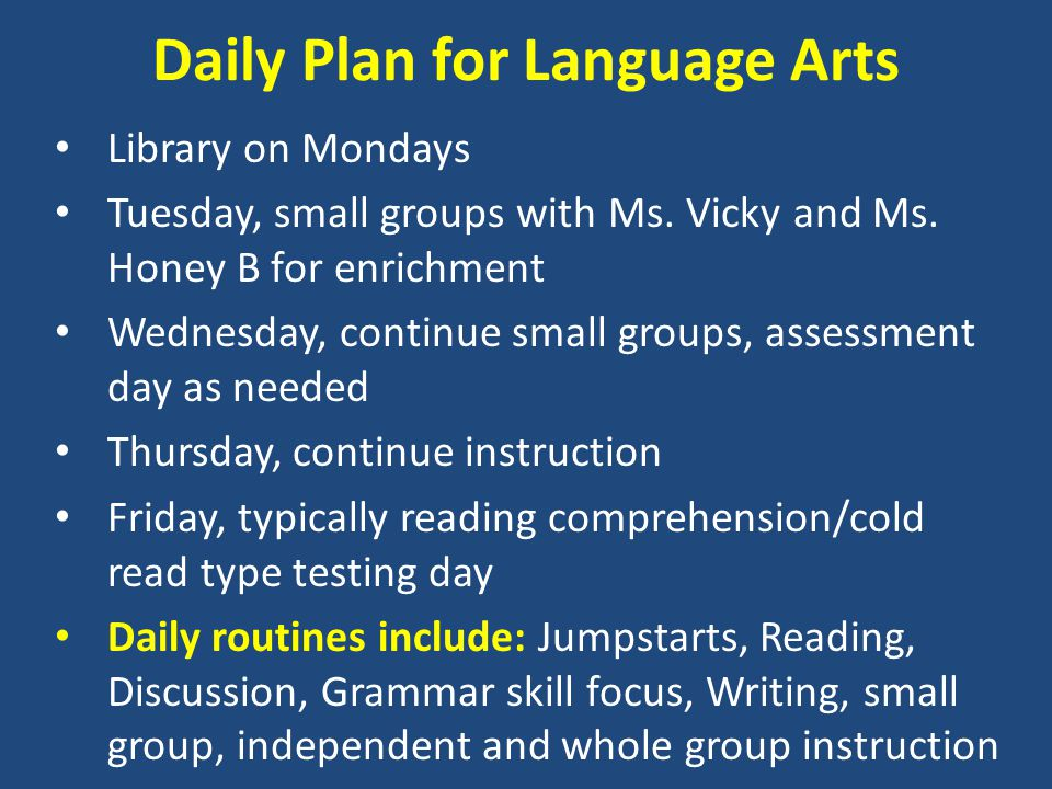 Daily Plan for Language Arts Library on Mondays Tuesday, small groups with Ms.