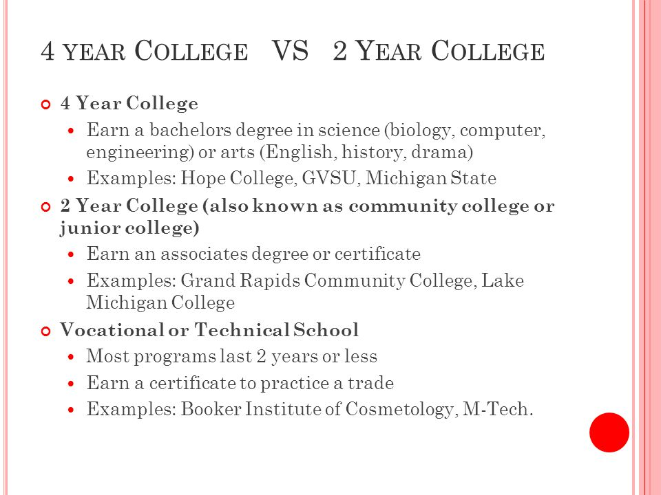 C OMMUNITY C OLLEGE I NFORMATION 1.A second chance to attend a 4-year college 2.