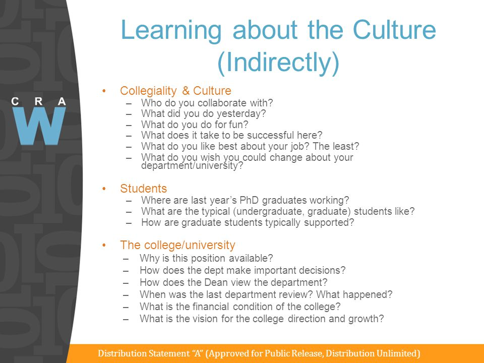 Learning about the Culture (Indirectly) Collegiality & Culture –Who do you collaborate with? –What did you do yesterday? –What do you do for fun? –Wha