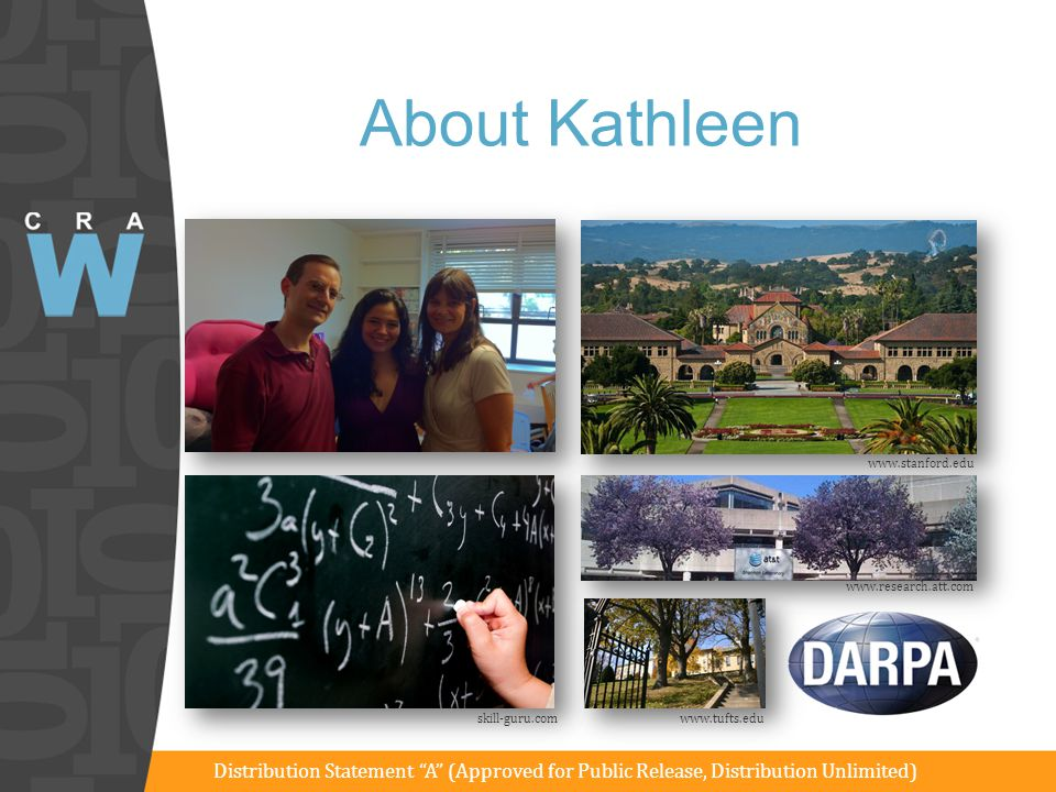 "About Kathleen www.stanford.edu www.research.att.com skill-guru.comwww.tufts.edu Distribution Statement ""A"" (Approved for Public Release, Distribution"