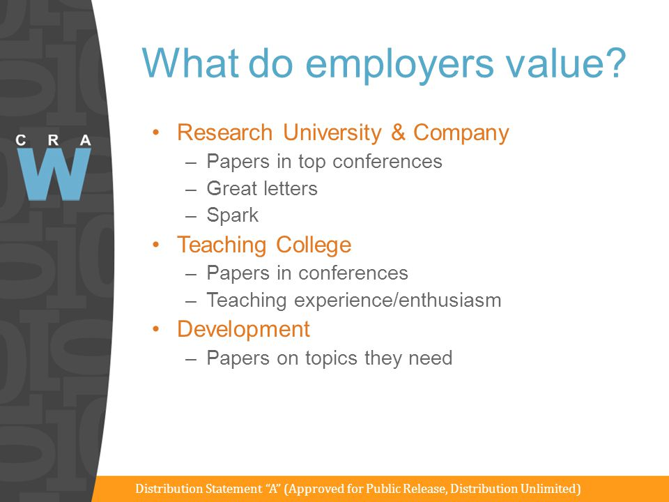 What do employers value? Research University & Company –Papers in top conferences –Great letters –Spark Teaching College –Papers in conferences –Teach