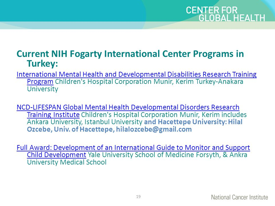 Current NIH Fogarty International Center Programs in Turkey: International Mental Health and Developmental Disabilities Research Training ProgramInter