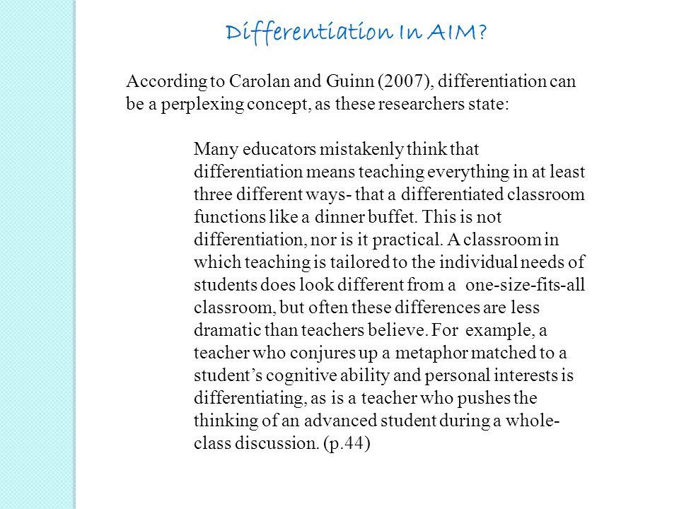 Differentiation In AIM.