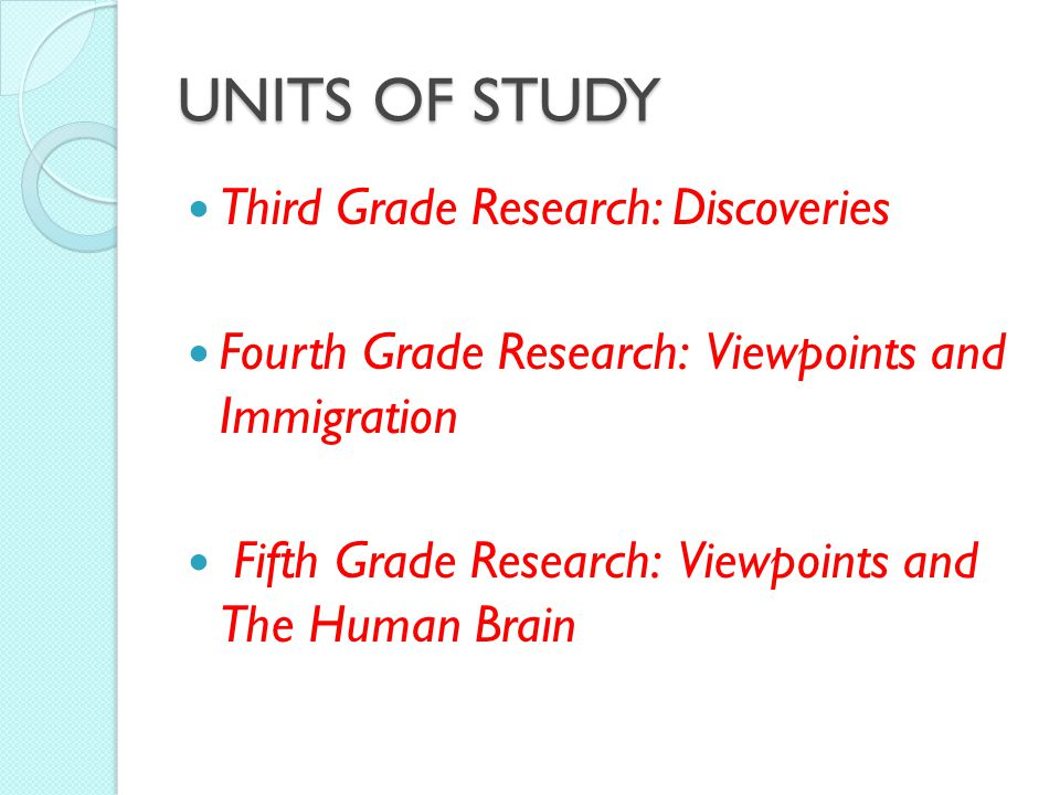 UNITS OF STUDY Third Grade Research: Discoveries Fourth Grade Research: Viewpoints and Immigration Fifth Grade Research: Viewpoints and The Human Brain