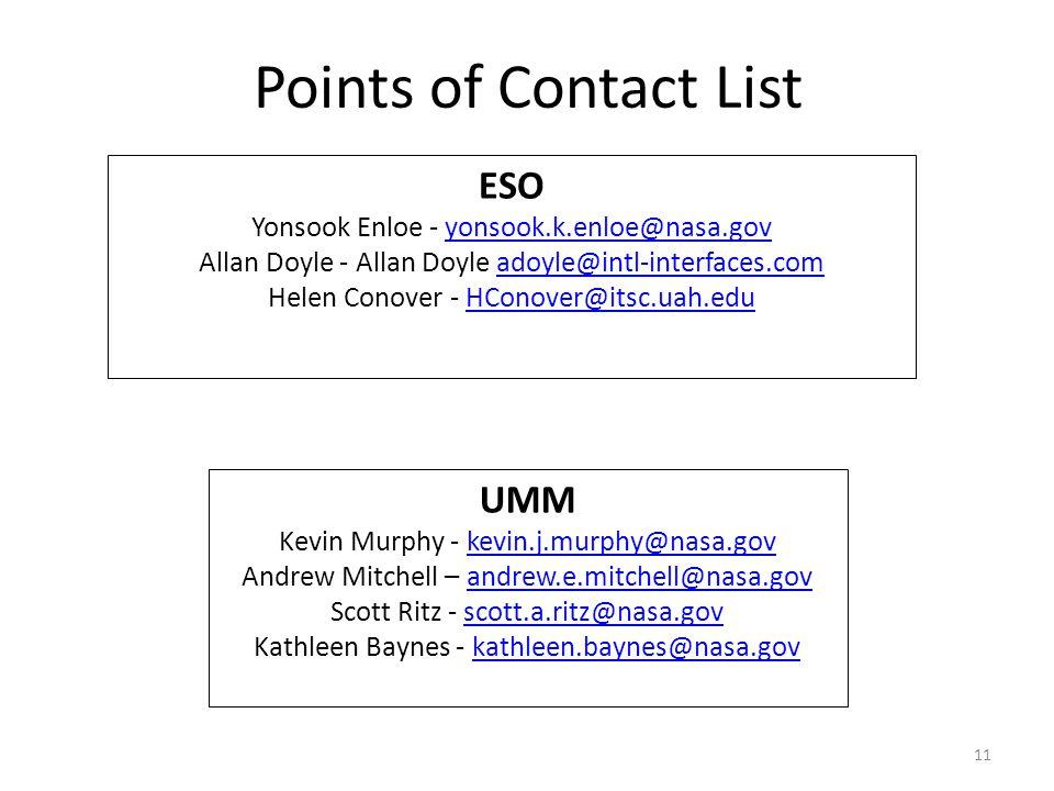 11 Metadata July 11, 20132013 ESIP Summer Meeting | Chapel Hill, NC Points of Contact List ESO Yonsook Enloe - yonsook.k.enloe@nasa.govyonsook.k.enloe@nasa.gov Allan Doyle - Allan Doyle adoyle@intl-interfaces.comadoyle@intl-interfaces.com Helen Conover - HConover@itsc.uah.eduHConover@itsc.uah.edu UMM Kevin Murphy - kevin.j.murphy@nasa.govkevin.j.murphy@nasa.gov Andrew Mitchell – andrew.e.mitchell@nasa.govandrew.e.mitchell@nasa.gov Scott Ritz - scott.a.ritz@nasa.govscott.a.ritz@nasa.gov Kathleen Baynes - kathleen.baynes@nasa.govkathleen.baynes@nasa.gov