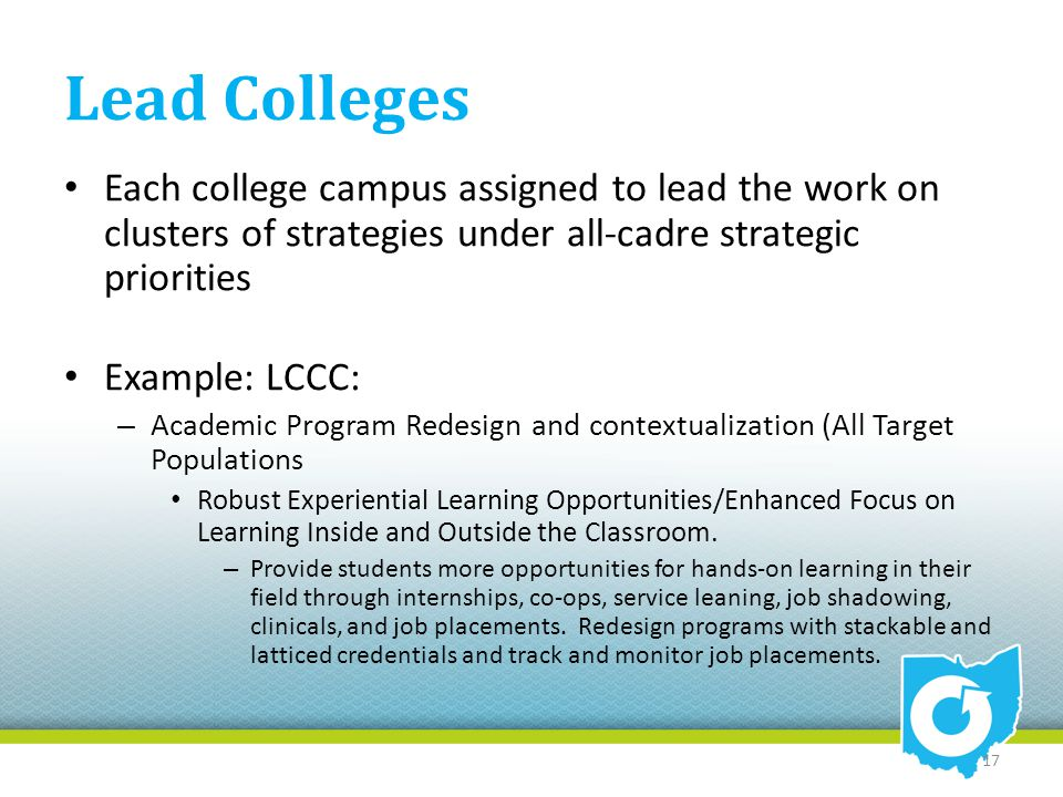 Lead Colleges Each college campus assigned to lead the work on clusters of strategies under all-cadre strategic priorities Example: LCCC: – Academic P