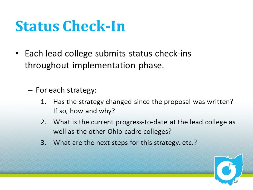 Status Check-In Each lead college submits status check-ins throughout implementation phase. – For each strategy: 1.Has the strategy changed since the