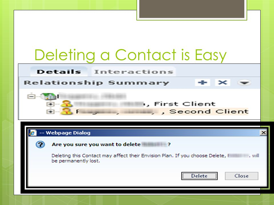 Deleting a Contact is Easy