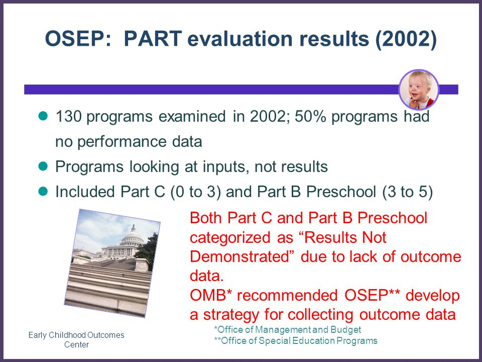 Early Childhood Outcomes Center 130 programs examined in 2002; 50% programs had no performance data Programs looking at inputs, not results Included Part C (0 to 3) and Part B Preschool (3 to 5) OSEP: PART evaluation results (2002) Both Part C and Part B Preschool categorized as Results Not Demonstrated due to lack of outcome data.