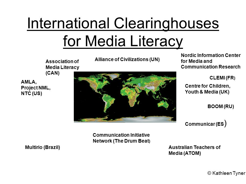 International Clearinghouses for Media Literacy Australian Teachers of Media (ATOM) Association of Media Literacy (CAN) Alliance of Civilizations (UN) Centre for Children, Youth & Media (UK) Multirio (Brazil) Nordic Information Center for Media and Communication Research CLEMI (FR ) Communication Initiative Network (The Drum Beat ) BOOM (RU) AMLA, Project NML, NTC (US) Communicar (ES ) © Kathleen Tyner