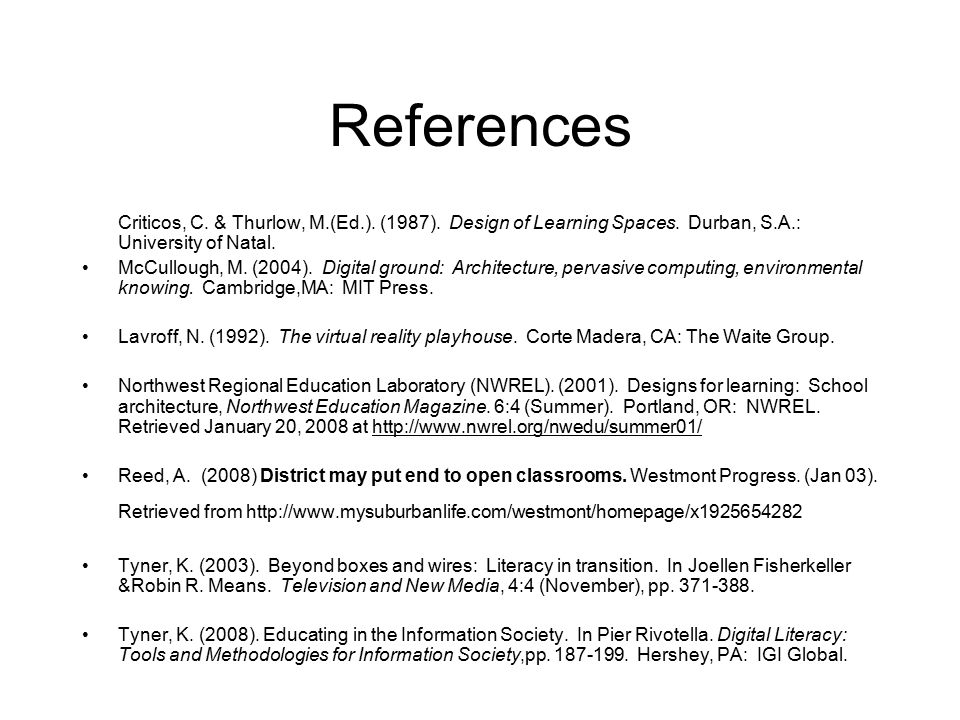 References Criticos, C. & Thurlow, M.(Ed.). (1987).
