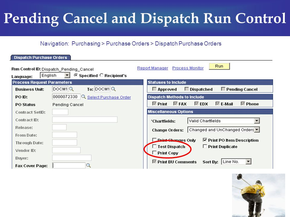 Pending Cancel and Dispatch Run Control Navigation: Purchasing > Purchase Orders > Dispatch Purchase Orders