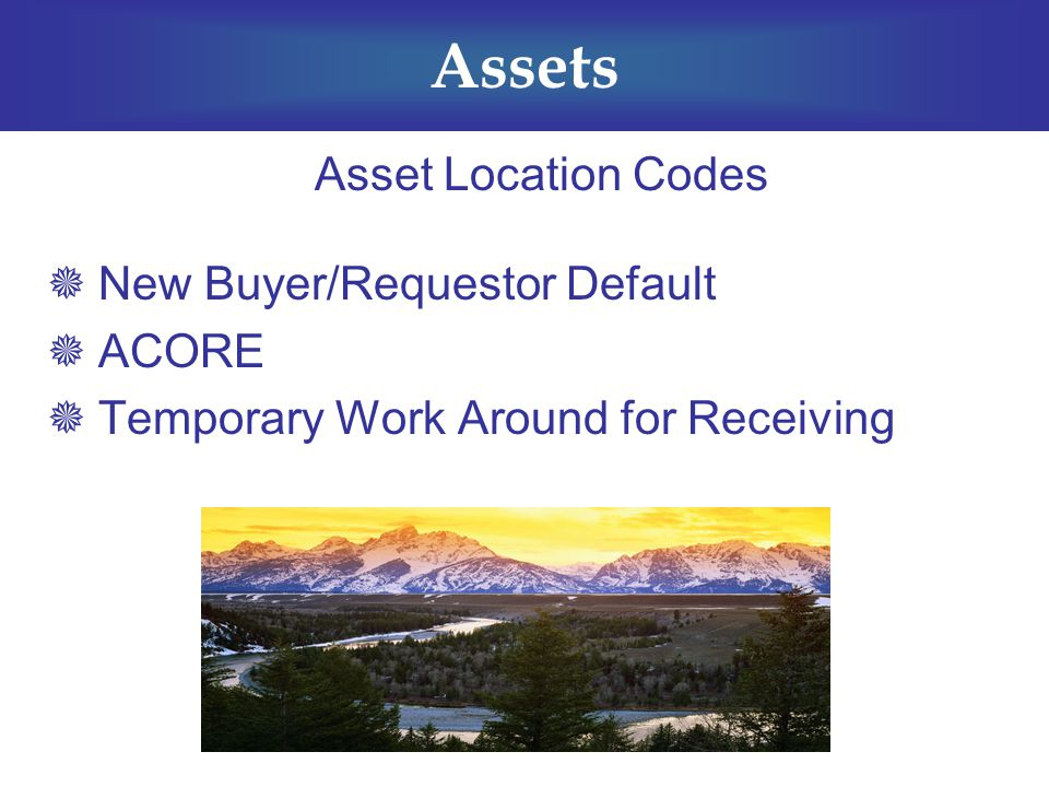 Assets Asset Location Codes  New Buyer/Requestor Default  ACORE  Temporary Work Around for Receiving