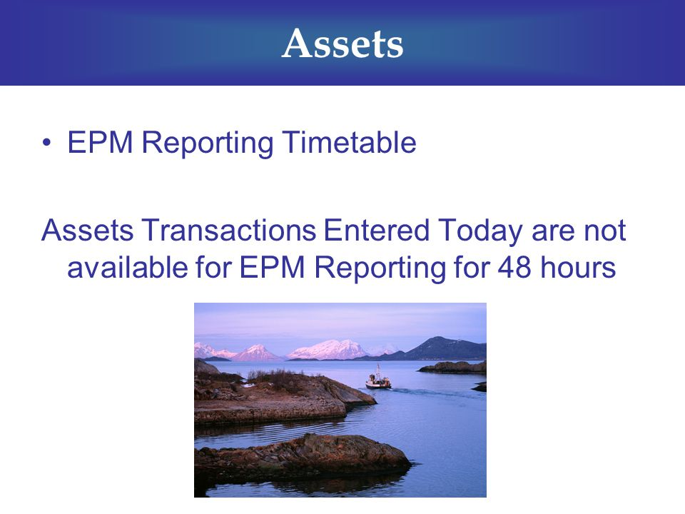 EPM Reporting Timetable Assets Transactions Entered Today are not available for EPM Reporting for 48 hours Assets
