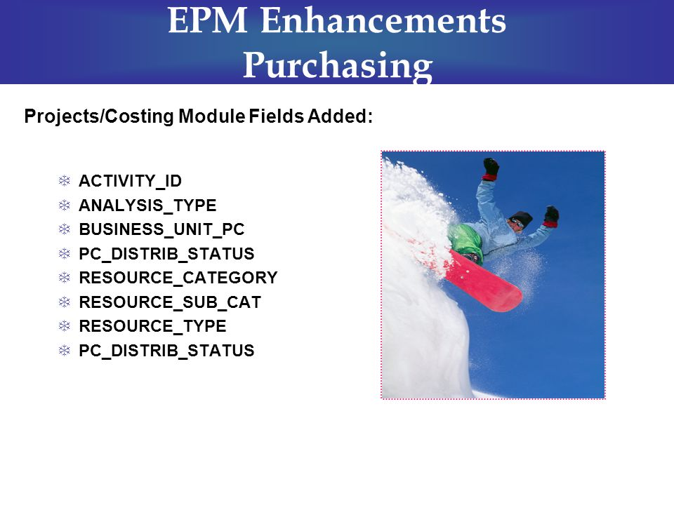 EPM Enhancements Purchasing  ACTIVITY_ID  ANALYSIS_TYPE  BUSINESS_UNIT_PC  PC_DISTRIB_STATUS  RESOURCE_CATEGORY  RESOURCE_SUB_CAT  RESOURCE_TYP