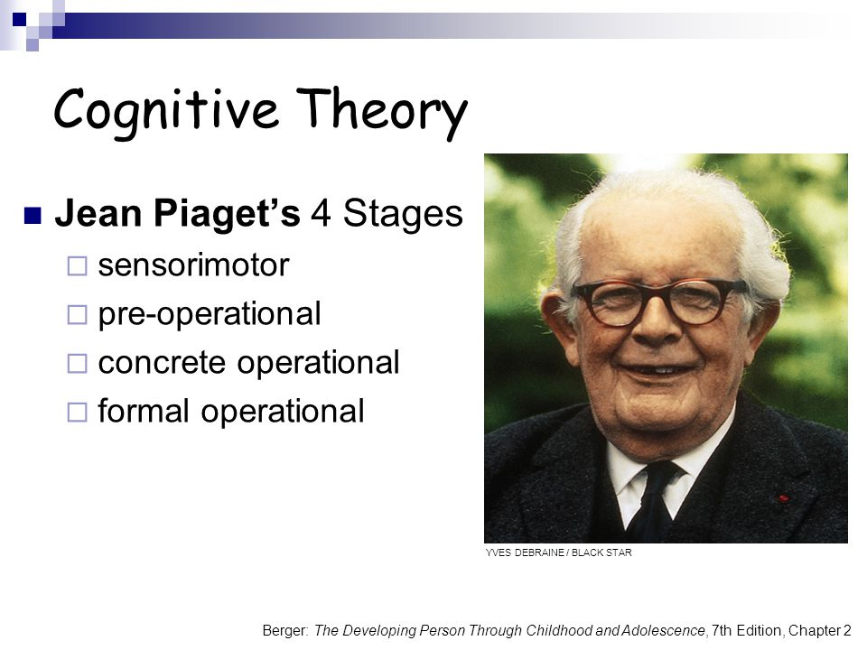 Berger: The Developing Person Through Childhood and Adolescence, 7th Edition, Chapter 2 Cognitive Theory Jean Piaget's 4 Stages  sensorimotor  pre-operational  concrete operational  formal operational YVES DEBRAINE / BLACK STAR