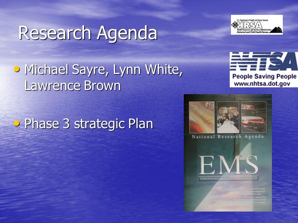 Research Agenda Michael Sayre, Lynn White, Lawrence Brown Michael Sayre, Lynn White, Lawrence Brown Phase 3 strategic Plan Phase 3 strategic Plan