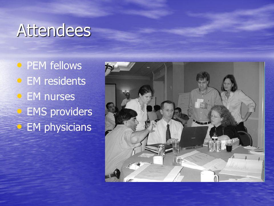 Attendees PEM fellows EM residents EM nurses EMS providers EM physicians