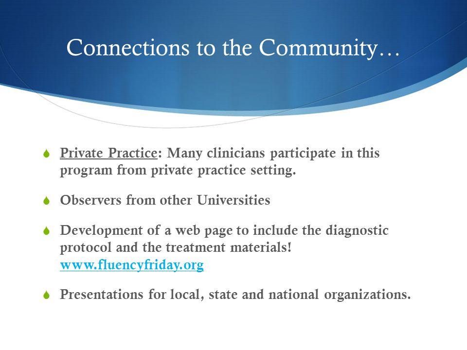 Program Goals for FFP 1) Provide an intensive treatment for children/teens who stutter 2) Provide a supported practicum for graduate clinicians.