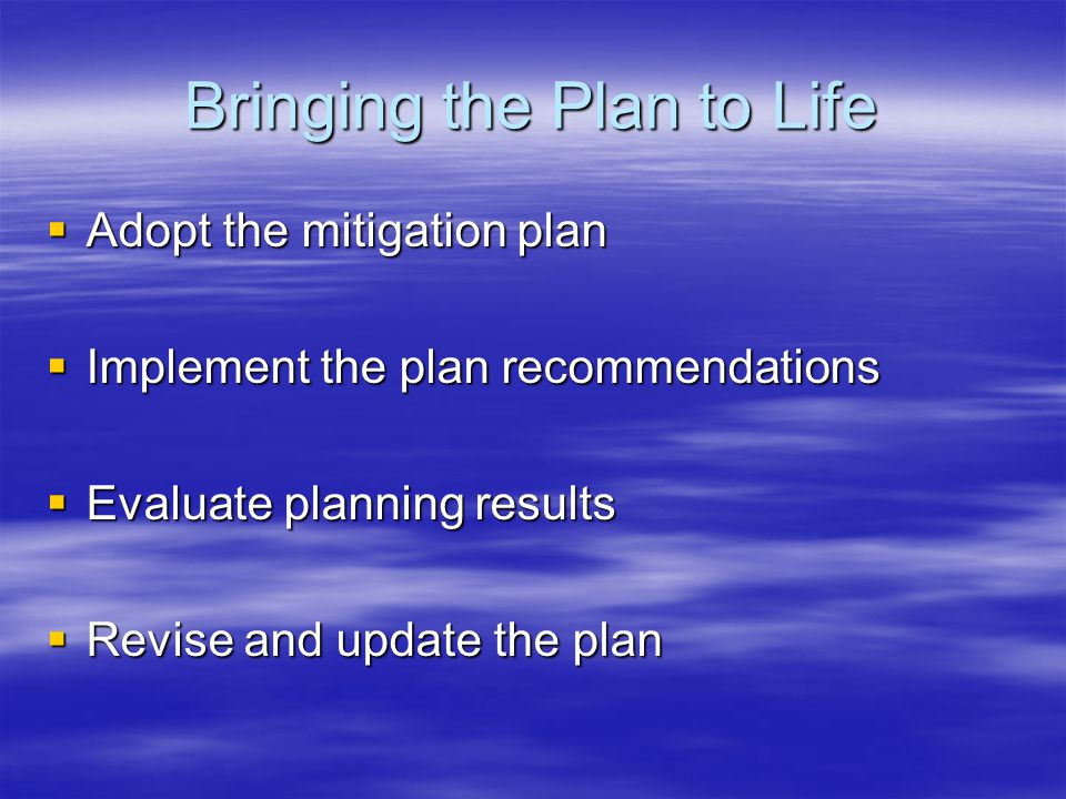 Bringing the Plan to Life  Adopt the mitigation plan  Implement the plan recommendations  Evaluate planning results  Revise and update the plan