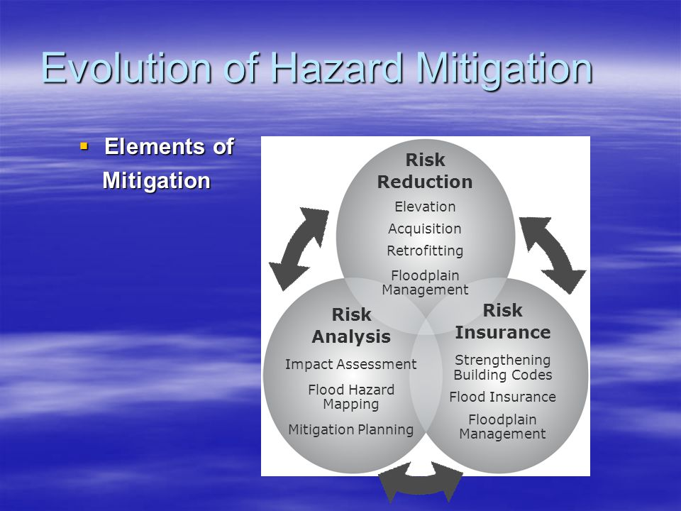 Hazard Mitigation Planning  Disaster Mitigation Act of 2000 –Places new importance on mitigation planning –National guidelines for planning –Promotes sustainability as a strategy for disaster resistance