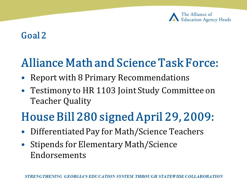 Page 14 AEAH-Communications Team | 5/14/07 Goal 2 Alliance Math and Science Task Force: Report with 8 Primary Recommendations Testimony to HR 1103 Joi