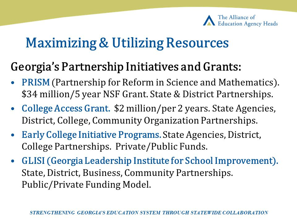 Page 23 AEAH-Communications Team | 5/14/07 Maximizing & Utilizing Resources Georgia's Partnership Initiatives and Grants: PRISM (Partnership for Refor