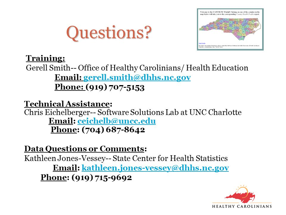 Questions? Technical Assistance: Chris Eichelberger-- Software Solutions Lab at UNC Charlotte Email: ceichelb@uncc.educeichelb@uncc.edu Phone: (704) 6