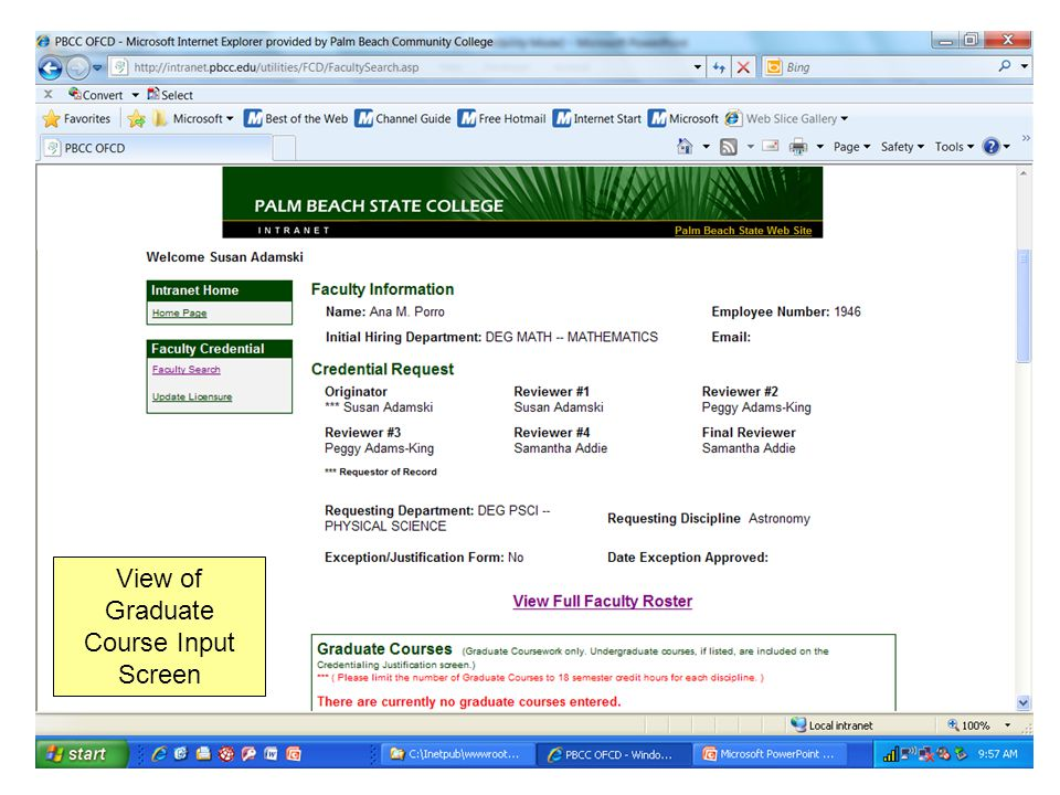 View of Graduate Course Input Screen