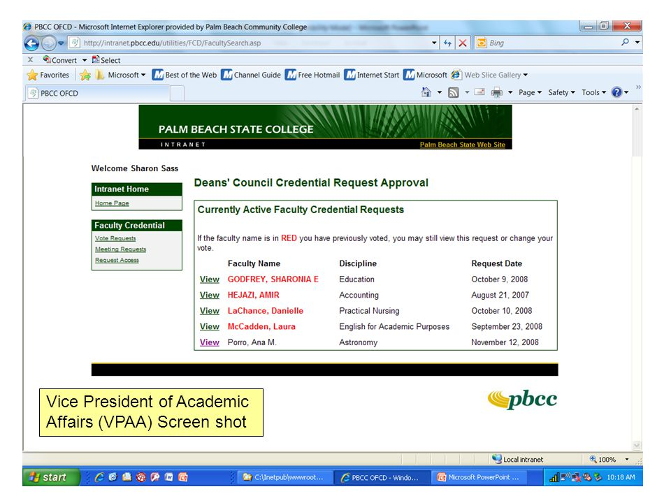 Vice President of Academic Affairs (VPAA) Screen shot