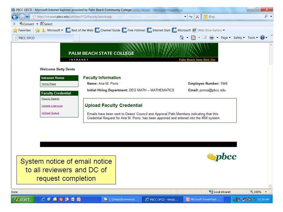 System notice of email notice to all reviewers and DC of request completion