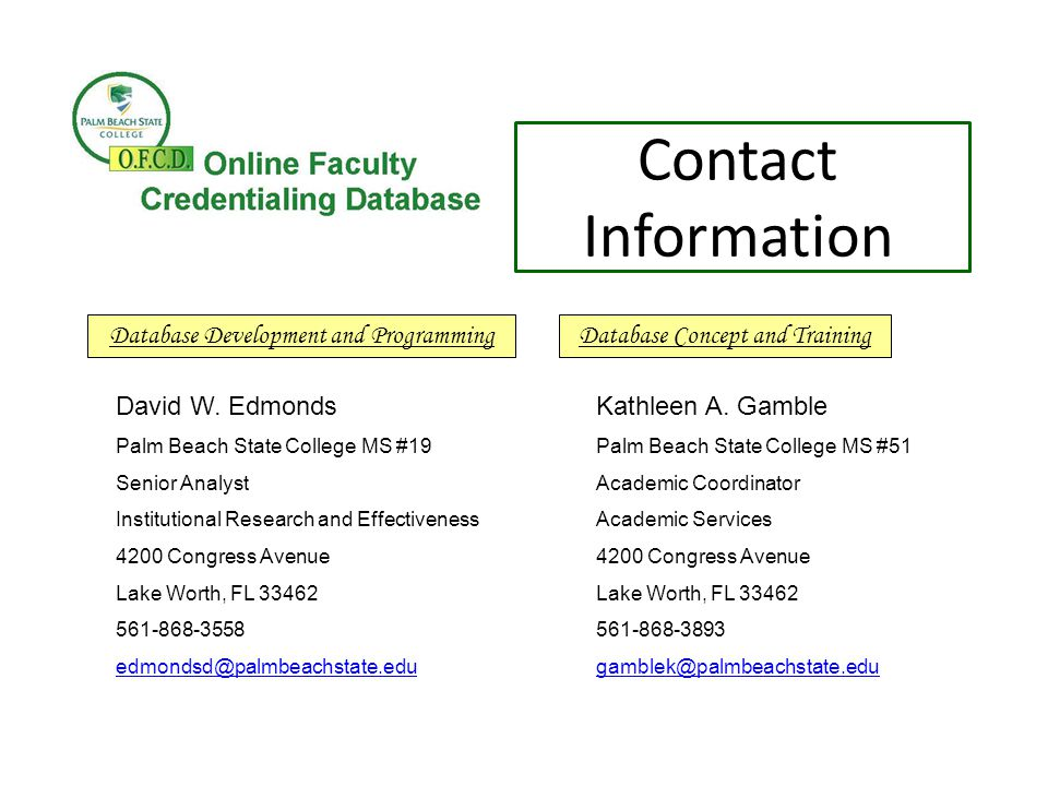 Contact Information David W.