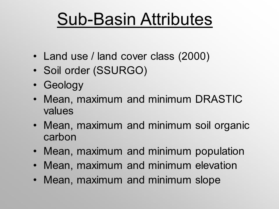 Sub-Basin Attributes Land use / land cover class (2000) Soil order (SSURGO) Geology Mean, maximum and minimum DRASTIC values Mean, maximum and minimum soil organic carbon Mean, maximum and minimum population Mean, maximum and minimum elevation Mean, maximum and minimum slope