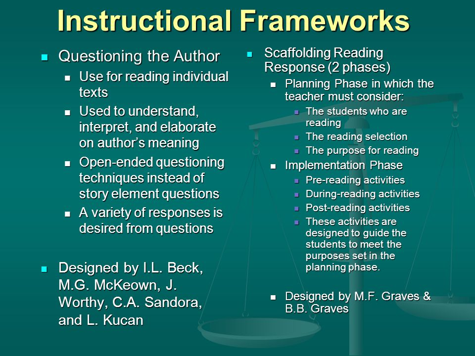 Instructional Frameworks Questioning the Author Questioning the Author Use for reading individual texts Use for reading individual texts Used to understand, interpret, and elaborate on author's meaning Used to understand, interpret, and elaborate on author's meaning Open-ended questioning techniques instead of story element questions Open-ended questioning techniques instead of story element questions A variety of responses is desired from questions A variety of responses is desired from questions Designed by I.L.