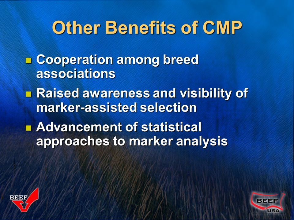 Cooperation among breed associations Cooperation among breed associations Raised awareness and visibility of marker-assisted selection Raised awarenes