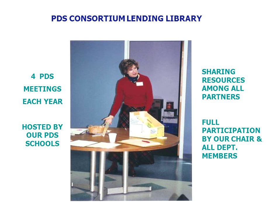 PDS CONSORTIUM LENDING LIBRARY 4 PDS MEETINGS EACH YEAR HOSTED BY OUR PDS SCHOOLS SHARING RESOURCES AMONG ALL PARTNERS FULL PARTICIPATION BY OUR CHAIR & ALL DEPT.