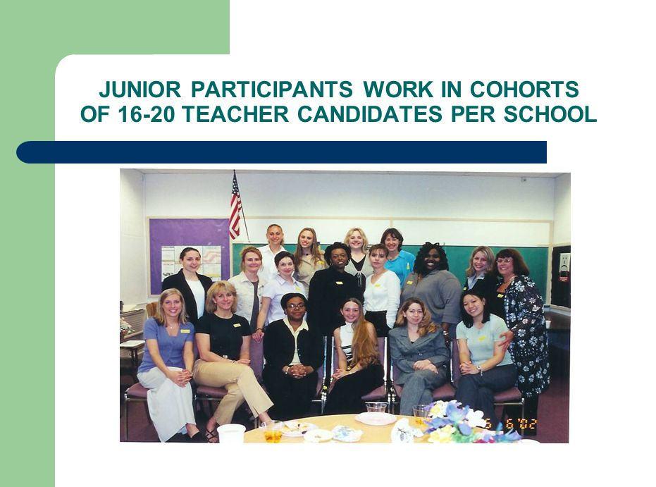 JUNIOR PARTICIPANTS WORK IN COHORTS OF 16-20 TEACHER CANDIDATES PER SCHOOL