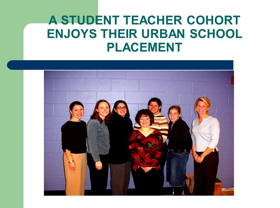 A STUDENT TEACHER COHORT ENJOYS THEIR URBAN SCHOOL PLACEMENT