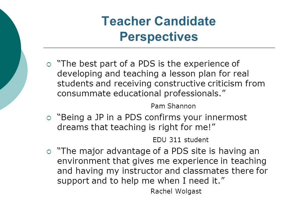 CONTINUING PERSPECTIVES…  PDS is a great opportunity for Staff Development.