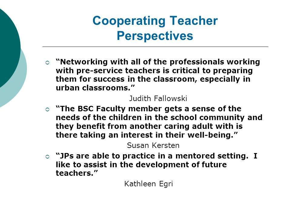 COOPERATING TEACHERS DELIVER MODEL LESSONS